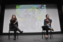Jessica Ruano and Amelia Griffin speaking at One World Film Festival